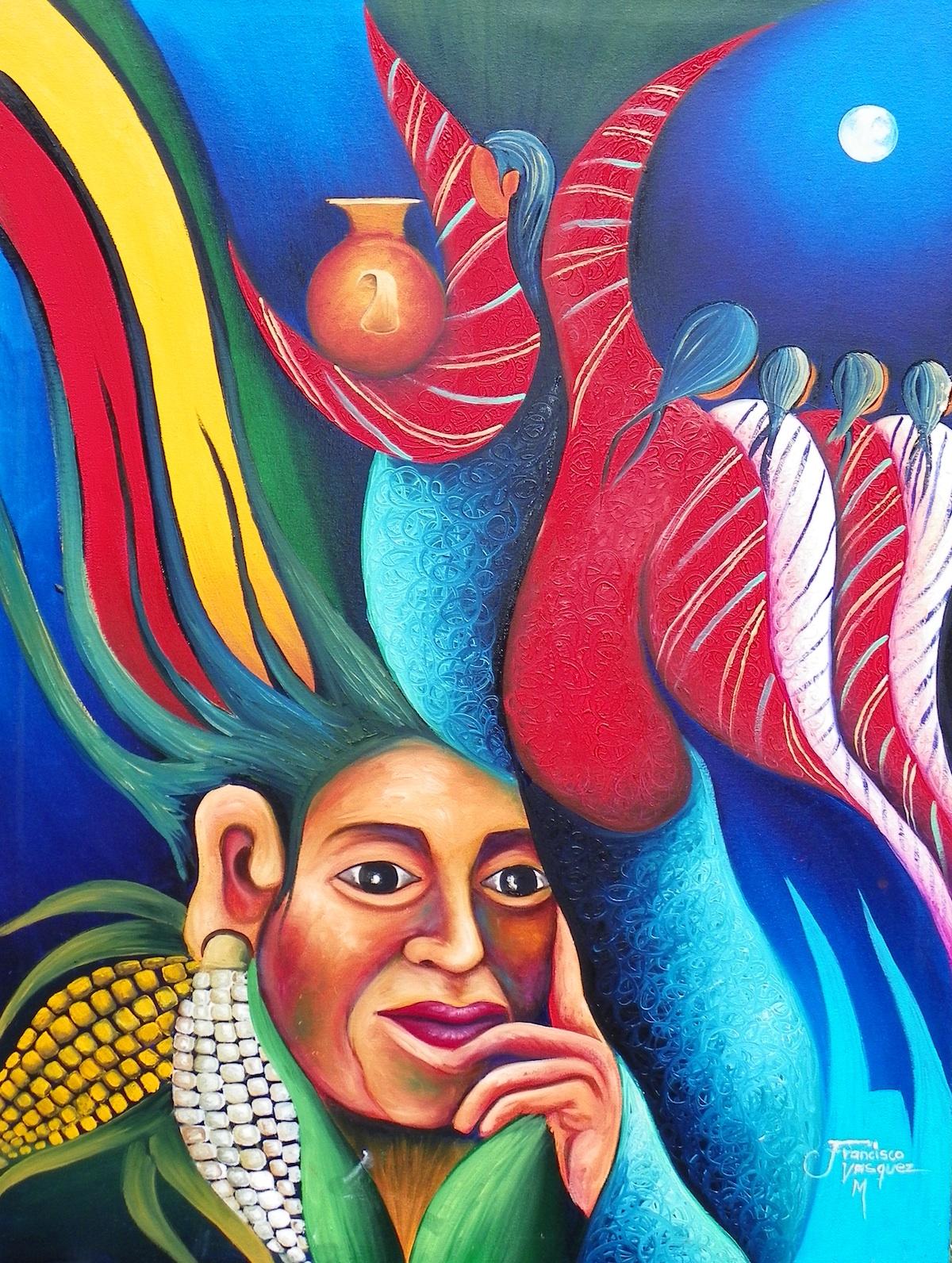 Lake Atitlan Painting Francisco Vásquez Mendoza