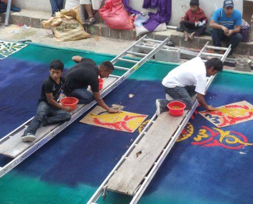 Semana Santa Guatemala Making an Alfombra