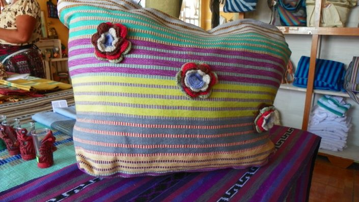 Guatemalan textiles, straight from our weaver's tote bag